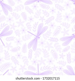 Dragonfly, leaves, flowers, twigs seamless pattern. Hand drawn doodle. Vector illustration on a white background. For fabrics, wrapping paper.