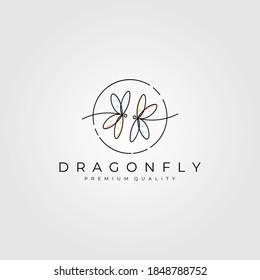 dragonfly line art logo minimalist vector illustration design, dragonfly symbol design
