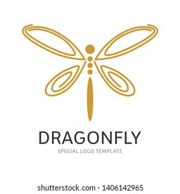Dragonfly logo design with line art style