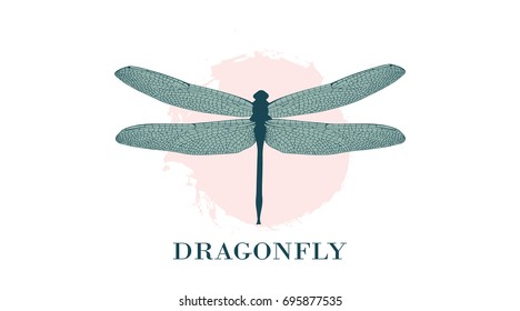 Dragonfly Logo Design Template. A colorful dragonfly on a background of colored splashes, watercolor stains. Fashionable illustration isolated on white. For label, badge, emblem, sign, identity.