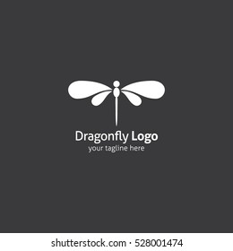 Dragonfly Logo design template linear style. Vector Illustration