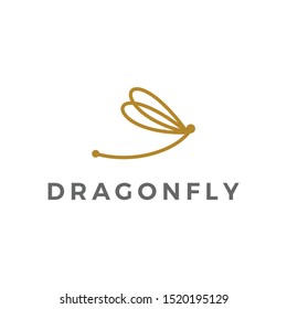 Dragonfly Logo Design Vector Stock With Line Outline Monoline Style