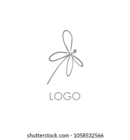 Dragonfly logo illustration. Single flat icon for your business. Company identity. Simple and minimalistic style. Advertising or web startup symbol design. Vector isolated sign in neutral colors.