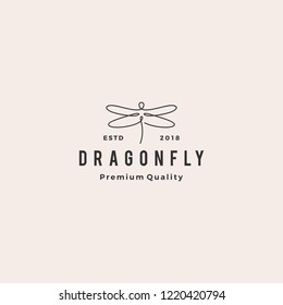dragonfly logo vector line outline monoline icon illustration