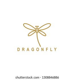Dragonfly luxury and minimalist gold logo design