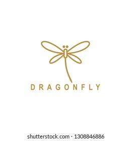 Dragonfly luxury and minimalist line art gold logo design
