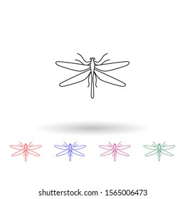 Dragonfly multi color icon. Simple thin line, outline vector of insect icons for ui and ux, website or mobile application