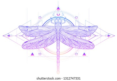 Dragonfly over sacred geometry sign, isolated gradient vector illustration. Tattoo sketch. Mystical symbols and insects. Alchemy, occultism, spirituality, coloring book. Hand-drawn vintage.