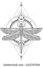 15441a038 Dragonfly over sacred geometry sign, isolated vector illustration. Tattoo  sketch. Mystical symbols and