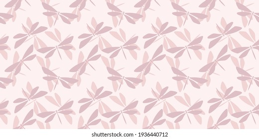 Dragonfly pastel seamless repeat pattern background. Dragonfly silhouette random pattern.