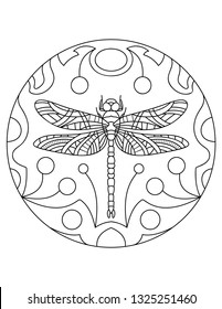 Dragonfly pattern. Illustration with a insect. Mandala with an animal.  Dragonfly in a circular frame. Coloring page for kids and adults.