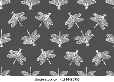 Dragonfly. Seamless pattern vector illustration. Retro vintage style.