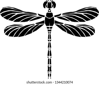 Dragonfly silhouette icon.  Stylized logo design . Vector illustration.