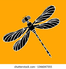 Dragonfly silhouette icon.  Stylized logo design. Vector illustration.