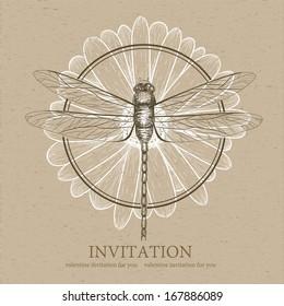 Dragonfly sketch. Invitation card