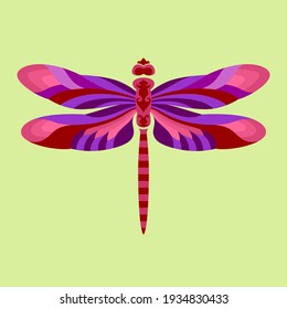 Dragonfly Vector in Red and Purple Color