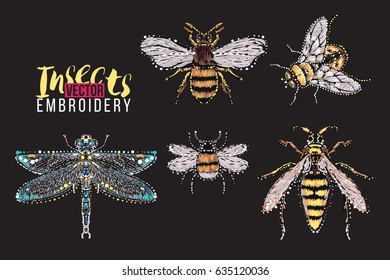 Dragonfly, yellow fly, big honey bee, big wasp, small funny bee. Embroidery and rhinestones fashion crystal patch with insects illustration. Isolated on black background.