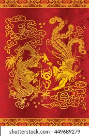 Dragon&Phoenix in classical chinese art and literature are as metaphor for people of rare talent or, for matrimonial harmony or happy marriage. The vector illustration  may be scaled without loss