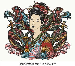 Dragons and asian woman, fan, lantern. Ancient China and Japan. Oriental art. Traditional yakuza tattoo and t-shirt design. History and culture of Asia