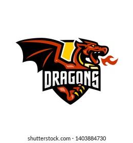 Dragons breathe Fire Badge Mascot Logo