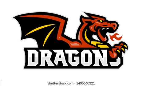 Dragons Breathe Fire Mascot Logo