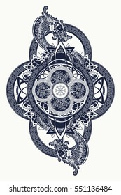 Dragons and Celtic tree of life, tattoo. Mystic tribal symbol and t-shirt design