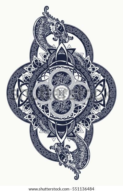 d88e45b8e Dragons and Celtic tree of life, tattoo. Mystic tribal symbol and t-shirt