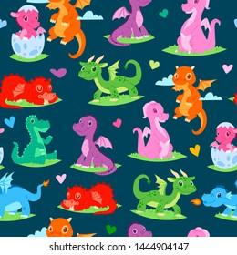 Dragons children seamless pattern vector illustration. Cartoon funny dragons with wings. Fairy dinosaurs sitting on lawn grass. Character hatching from egg. Magical dinos flying in sky.