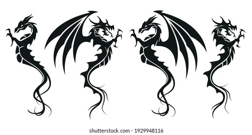 Dragons - Dragon symbol tattoo, set of black and white vector illustration, isolated on white background