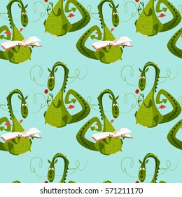 Dragons with a flower and a book. Diada de Sant Jordi (the Saint George's Day). Seamless background pattern. Vector illustration