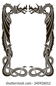 Dragons frame ornament isolated on white background in the proportion of A 4 format