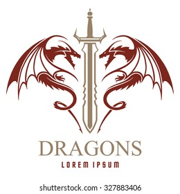 Dragons with sword logo template