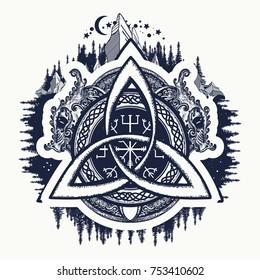 Dragons, symbol of the Viking. Helm of Awe, aegishjalmur, celtic trinity knot, northern ethnic style, tattoo and t-shirt design