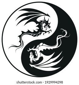 Dragons in Yin and yang circle - Dragon symbol tattoo, black and white vector illustration, isolated on white background