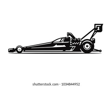Dragster car on white background.