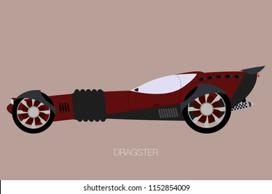 dragster, side view, accelerating racing cars