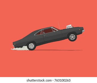 Dragster. Side View Vector flat styled illustration of Classic American Muscle Car