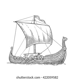 Drakkar floating on the sea waves.  Hand drawn design element sailing ship. Vintage vector engraving illustration for poster, label, postmark with sailboat. Isolated on white background