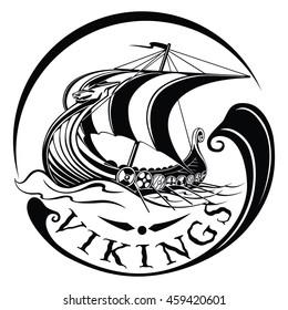 Drakkar, rook Vikings, ancient warship sailing in the sea in the waves, vector illustration