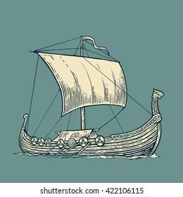Drakkar viking floating on the sea waves.  Hand drawn design element sailing ship. Vintage vector engraving illustration for poster, label, postmark. Isolated on blue background