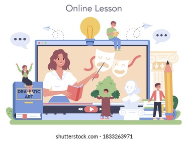 Drama class online service or platform. Children creative subject, school play. Online lesson. Vector illustration in cartoon style