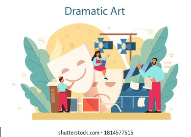 Drama club concept. Children creative subject, school play. Kid studying acting performance on stage and drama art. Vector illustration in cartoon style