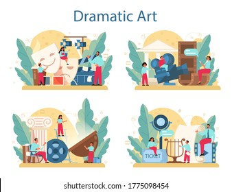 Drama club concept set. Children creative subject, school play. Kid studying acting performance on stage and drama art. Vector illustration in cartoon style