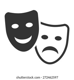 Drama comedy acting masks or theater play flat vector icon for apps and websites