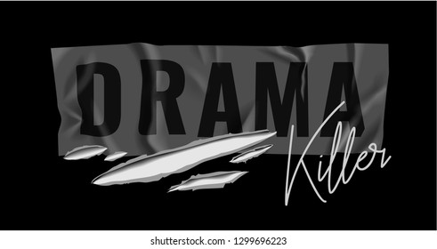drama killer wrinkled sticker with ripped holes illustration