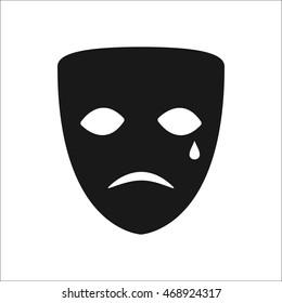 Drama sad mask symbol sign simple icon on background