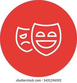 Drama Theater Masks Outline Icon