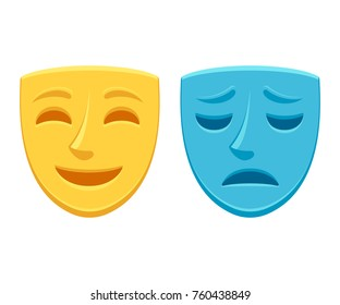 Drama theater masks, sad blue and happy yellow. Comedy and tragedy, optimistic and pessimistic personality vector illustration.