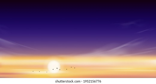 Dramatic sunset with sky line in orange, yellow and pink, purple with birds flying in sky,Vector illustration beautiful nature of landscape seaside in evening for Summer holiday background
