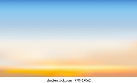 Dramatic sunset and sunrise sky background. Vector template design for product or travel nature montage display backdrop.